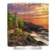 Stoney Cove Lighthouse Shower Curtain by Dominic Davison