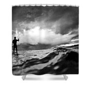 Storm paddler Shower Curtain by Sean Davey