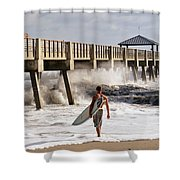 Storm Surfer Shower Curtain by Laura Fasulo