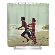 Storm Surfers Shower Curtain by Laura Fasulo