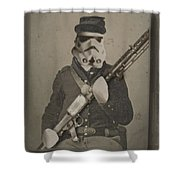 Storm Trooper Star Wars Antique Photo Shower Curtain by Tony Rubino
