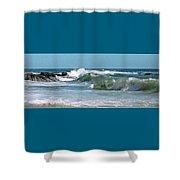 Stormy Lagune - Blue Seascape Shower Curtain by Ben and Raisa Gertsberg