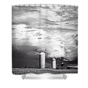 Stormy Weather On The Farm Shower Curtain by Edward Fielding