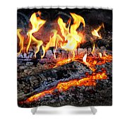 Stove - The Yule Log  Shower Curtain by Mike Savad
