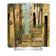 stradina a St Paul de Vence Shower Curtain by Guido Borelli