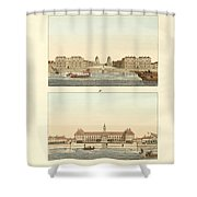 Strange Buildings In England Shower Curtain by Splendid Art Prints