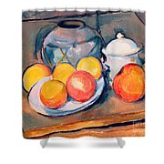 Straw Covered Vase Sugar Bowl And Apples Shower Curtain by Paul Cezanne