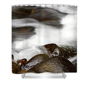 Stream Flowing  Shower Curtain by Les Cunliffe