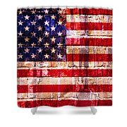Street Star Spangled Banner Shower Curtain by Delphimages Photo Creations