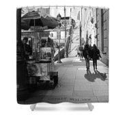 Street Vendor And Stairs In New York City Shower Curtain by Dan Sproul