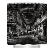 Streets Of Havana Bw Shower Curtain by Erik Brede