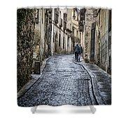 Streets Of Segovia Shower Curtain by Joan Carroll