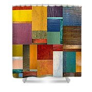 Strips And Pieces Ll Shower Curtain by Michelle Calkins