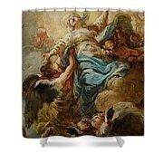 Study For The Assumption Of The Virgin Shower Curtain by Jean Baptiste Deshays de Colleville