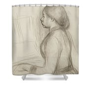 Study Of A Young Girl At The Piano Shower Curtain by Pierre Auguste Renoir