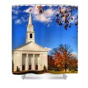 Sturbridge Church In Autumn Shower Curtain by Joann Vitali