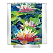 Styalized Lily Pads 3 Shower Curtain by Kathy Braud