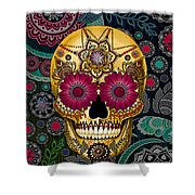Sugar Skull Paisley Garden - Copyrighted Shower Curtain by Christopher Beikmann
