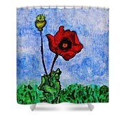 Summer Day Poppy Shower Curtain by Sarah Loft