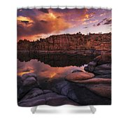 Summer Dells Sunset Shower Curtain by Peter Coskun