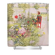 Summer In Sundborn Shower Curtain by Carl Larsson