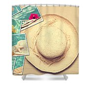 Summertime Postcards Shower Curtain by Amanda And Christopher Elwell