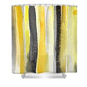 Sun And Shadows- Abstract Painting Shower Curtain by Linda Woods