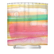 Sunday In The Park- Contemporary Abstract Painting Shower Curtain by Linda Woods