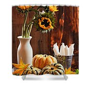 Sunflower And Gourds Still Life Shower Curtain by Amanda Elwell
