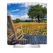 Sunflower Farm Shower Curtain by Debra and Dave Vanderlaan