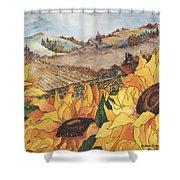 Sunflower Serenity Shower Curtain by Meldra Driscoll
