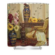 Sunflowers And Hollyhocks Shower Curtain by Kate Hayllar