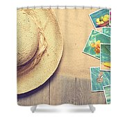 Sunhat And Postcards Shower Curtain by Amanda And Christopher Elwell