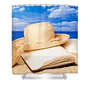 Sunhat In Sand Shower Curtain by Amanda And Christopher Elwell
