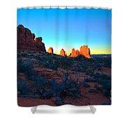 Sunrise At Arches National Park Shower Curtain by Tara Turner