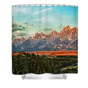Sunrise At Grand Tetons Shower Curtain by Robert Bales