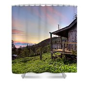 Sunrise At Mt Leconte Shower Curtain by Debra and Dave Vanderlaan