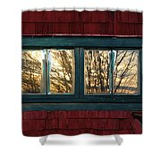 Sunrise In Old Barn Window Shower Curtain by Susan Capuano