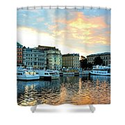Sunrise In Stockholm Shower Curtain by Jenny Hudson