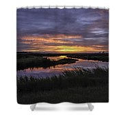 Sunrise On Lake Shelby Shower Curtain by Michael Thomas