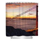 Sunrise Over The Golden Gate Bridge Shower Curtain by Brian Jannsen
