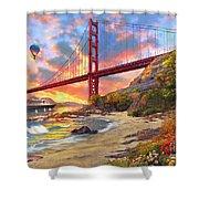 Sunset At Golden Gate Shower Curtain by Dominic Davison