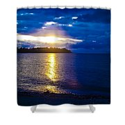 Sunset at Parksville Beach Shower Curtain by Christi Kraft