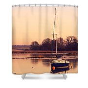 Sunset At The Creek Shower Curtain by Pixel Chimp