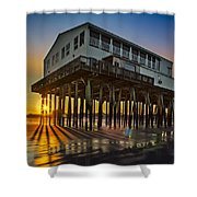 Sunset At The Pier Shower Curtain by Susan Candelario
