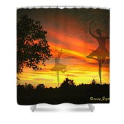 Sunset Ballerina Shower Curtain by Joyce Dickens