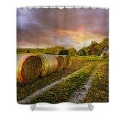 Sunset Farm Shower Curtain by Debra and Dave Vanderlaan