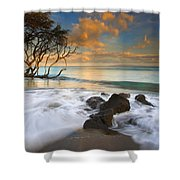 Sunset in Paradise Shower Curtain by Mike  Dawson