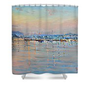 Sunset In Piermont Harbor Ny Shower Curtain by Ylli Haruni