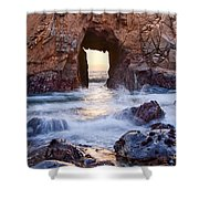 Sunset On Arch Rock In Pfeiffer Beach Big Sur California. Shower Curtain by Jamie Pham